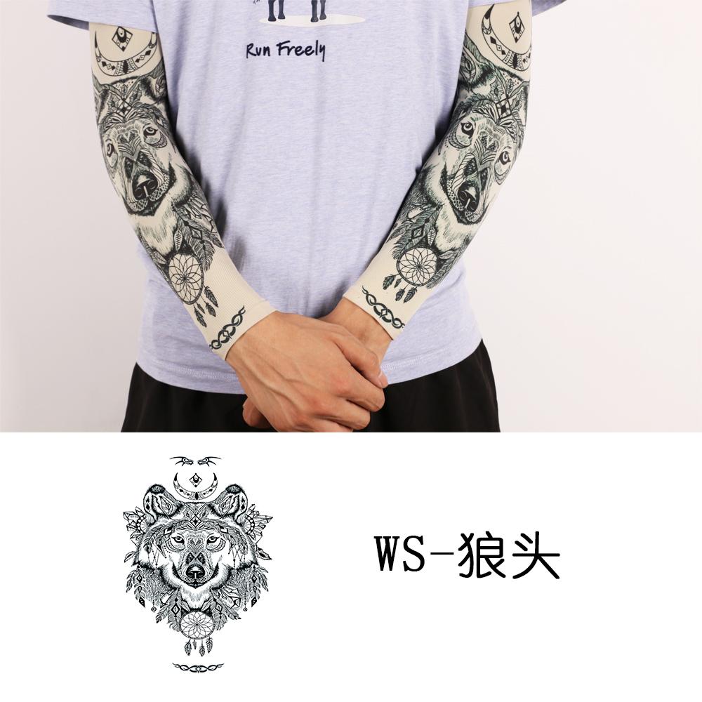 12-07新券男花臂无缝刺青冰爽袖开车纹身袖套
