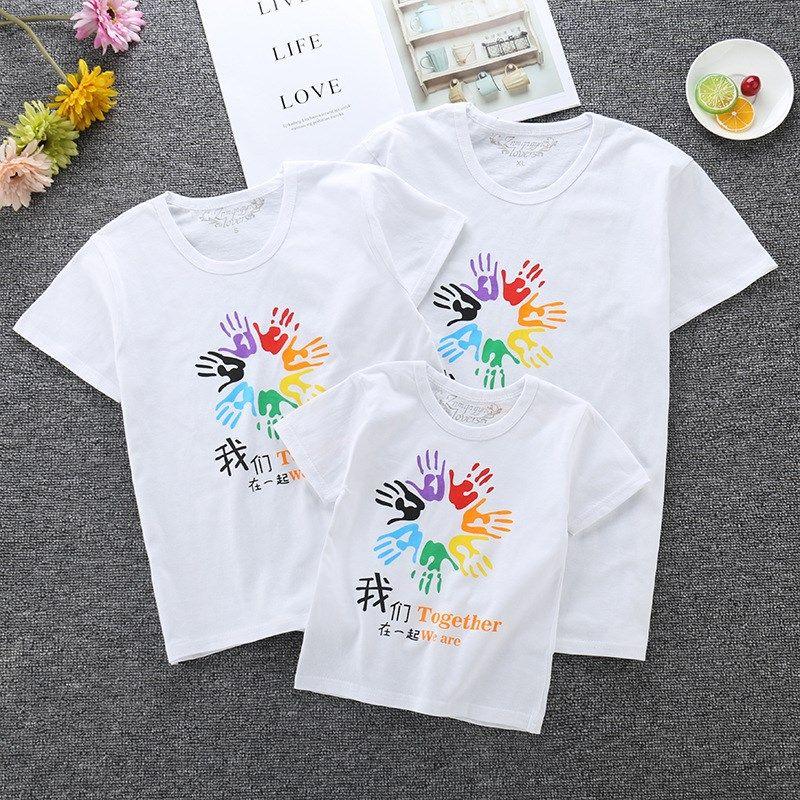 親子用夏服2019新型純綿親子親子家庭用親子服カップル半袖Tシャツ