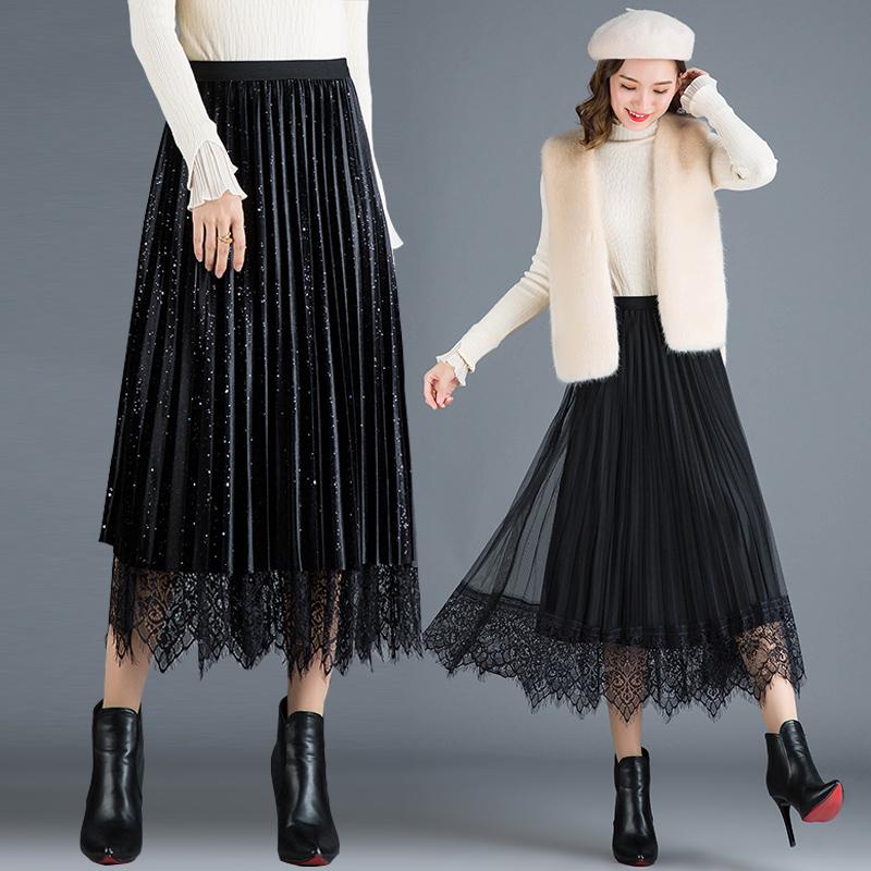 满21元可用20元优惠券秋冬款中长款高腰网纱两面穿半身裙