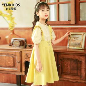 女童黄色套装2021儿童夏装连衣裙