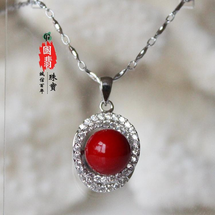 Silver inlaid zircon Red Coral Necklace Pendant present for brides birthday