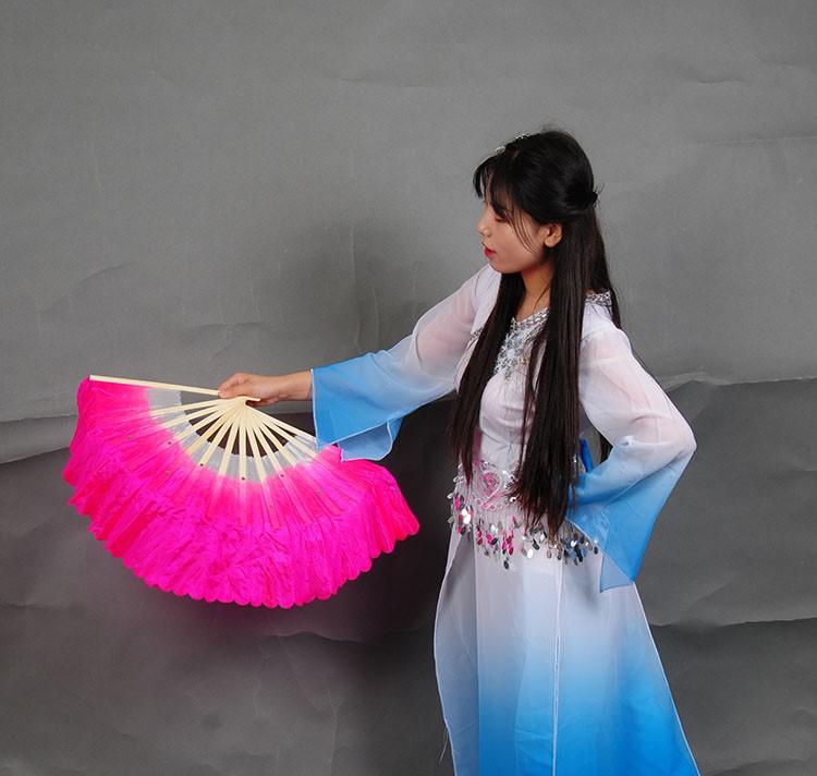 秧歌双色木兰扇竹骨加长新款夏季广场舞双面演出渐变色舞蹈扇三色