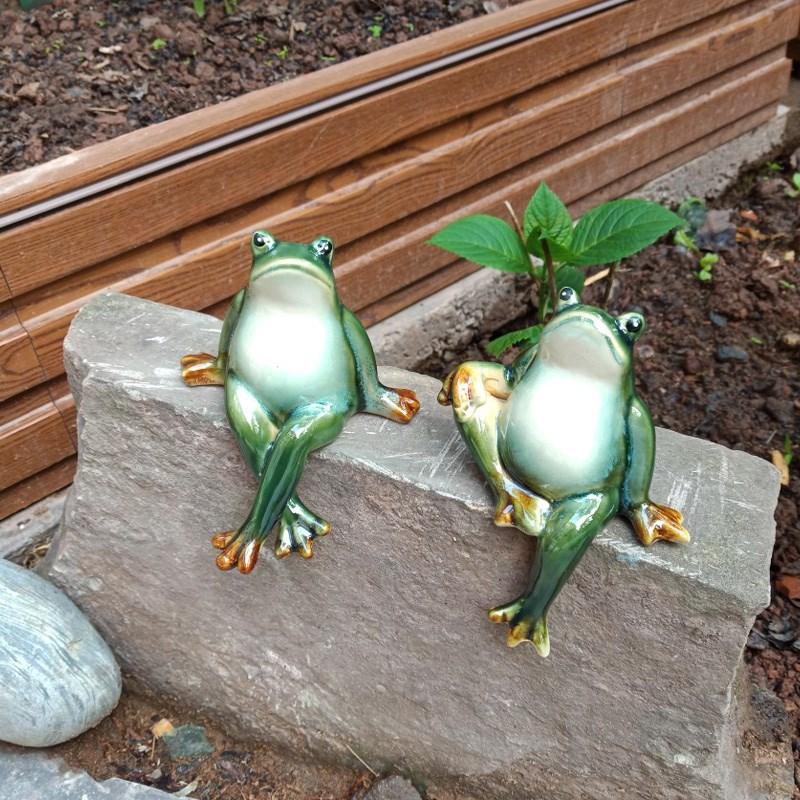 Creative ceramic frog lovers crafts home garden yangzhaocaitai ornaments decorations wedding birthday gifts