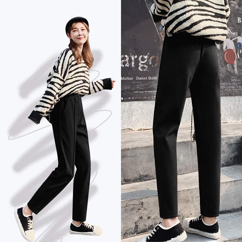 Autumn and winter new Korean woolen Plaid Shorts womens high waisted slim boots pants for students casual wide leg skirt pants