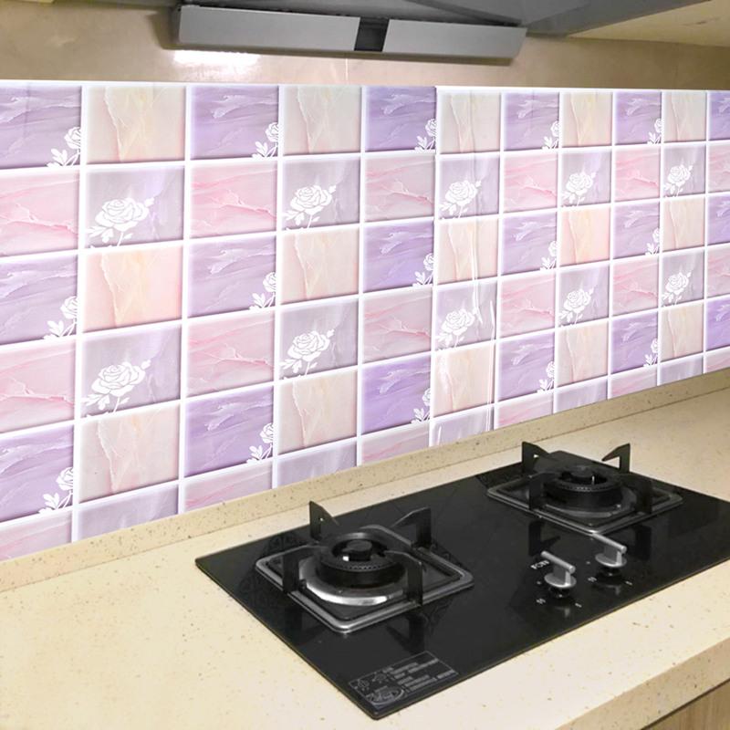 厨房防油贴纸防水自粘耐高温灶台用瓷砖橱柜台面油烟机 墙贴壁纸