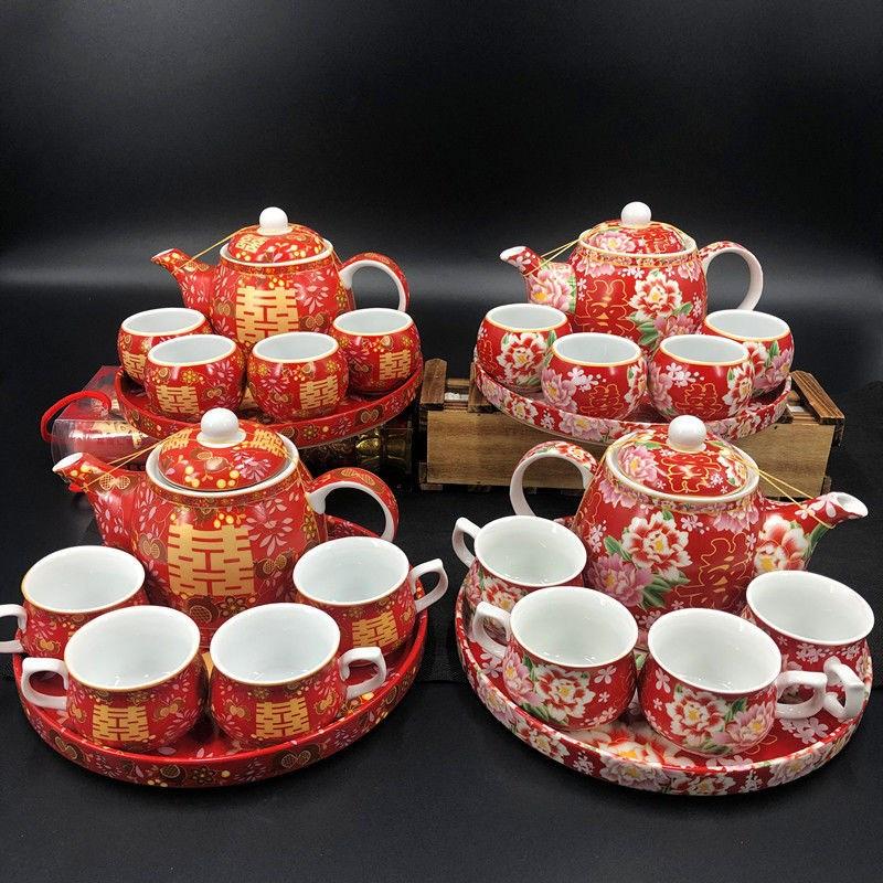 结婚婚庆用品港式新人敬茶杯套喜碗传统习俗新娘嫁妆陶瓷茶具套装
