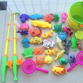 婴儿童钓鱼玩具池套装磁性1-3岁小孩戏水益智男女宝宝小猫多杆。