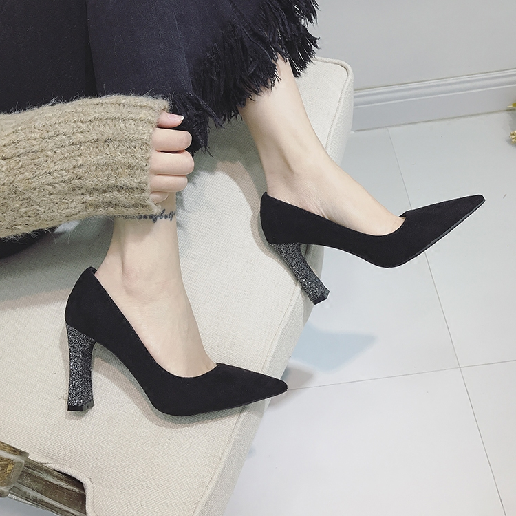 New spring 2020 Korean version of shiny thick heel high-heeled shoes