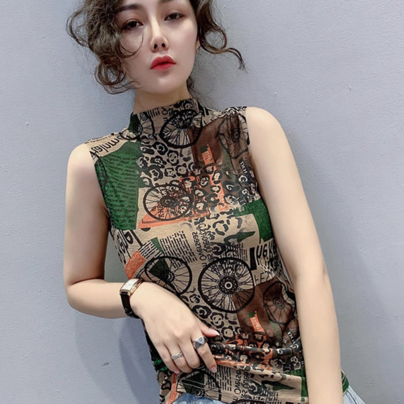 Single / two new 2021 spring / summer with sleeveless undershirt top, womens printed vest, T-shirt, womens slim sling