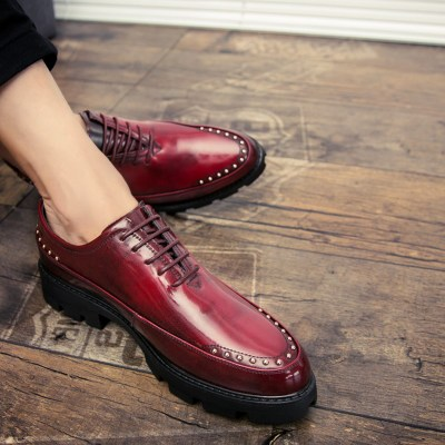 Red rivet heightening shoes mens summer heightening mens 6cm business lace up leather shoes mens shoes leather shoes