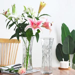 领2元券购买创意大号透明六角玻璃水养插花瓶