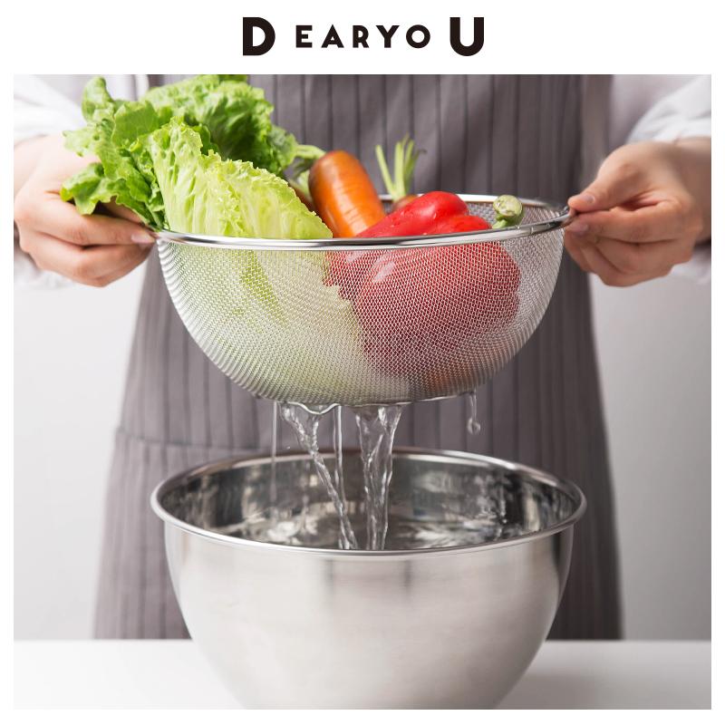 日本进口304不锈钢和面打蛋盆加深料理碗洗菜盆子家用厨房沥水篮