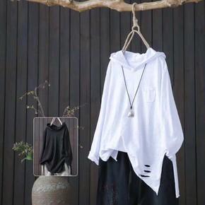 纯棉连帽T恤女夏秋季短袖宽松纯棉长袖打底无袖文艺破洞上衣背心