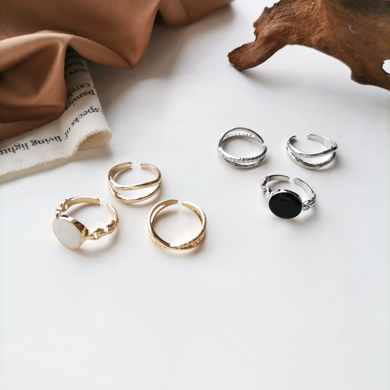 Niche temperament three piece ring personality double layer diamond oil dripping ring simple style index finger ring 2460