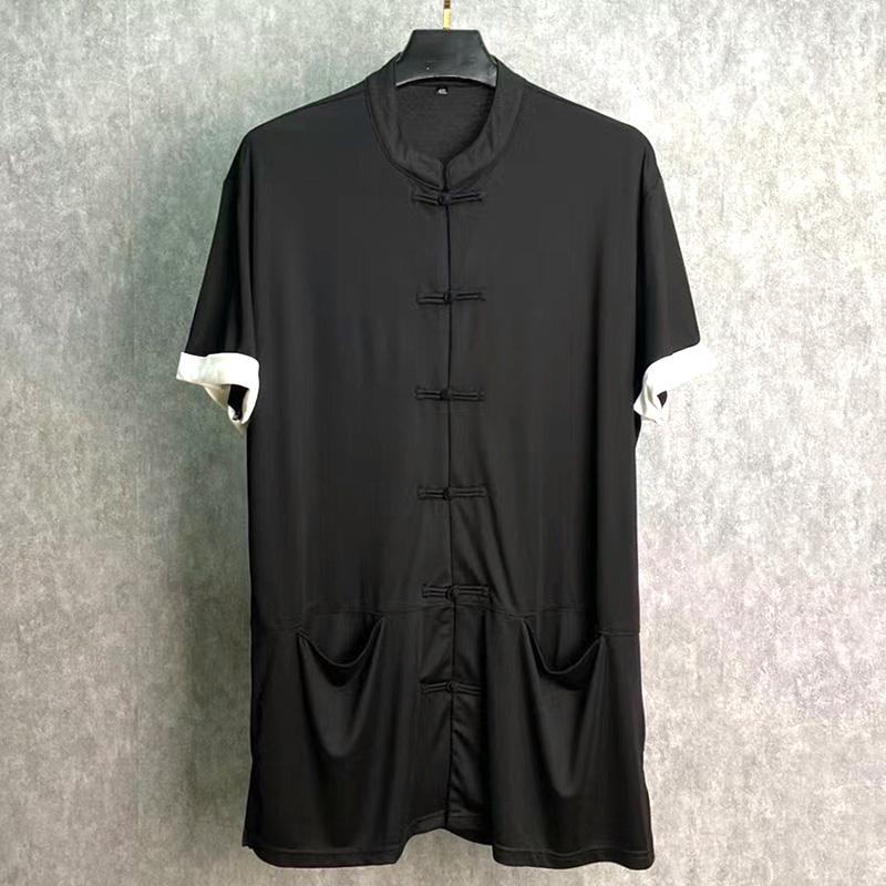 Luxi xiajiafei fat fat man Chinese style short sleeve shirt loose large size Kung Fu half sleeve jacket cardigan button