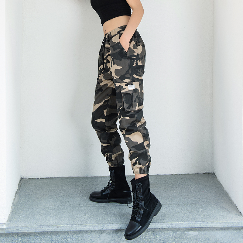Camouflage overalls womens loose BF handsome high waist show thin tide small bunting pants sports casual pants