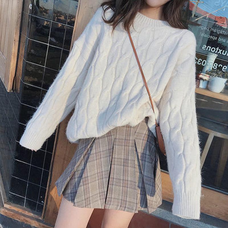 秋冬日系圆领白色麻花毛衣女套头粗毛线甜美针织上衣宽松加厚外穿