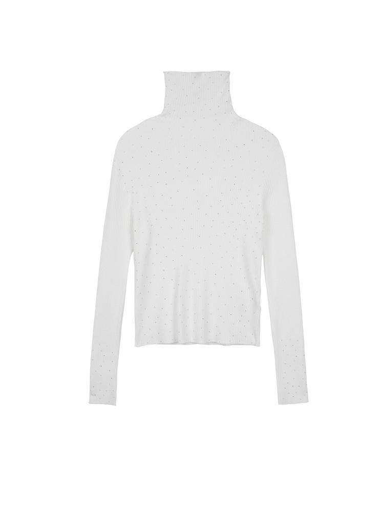 sdeer圣迪奥2021秋装新品高领基本款亮珠长袖白色针织衫S21383528