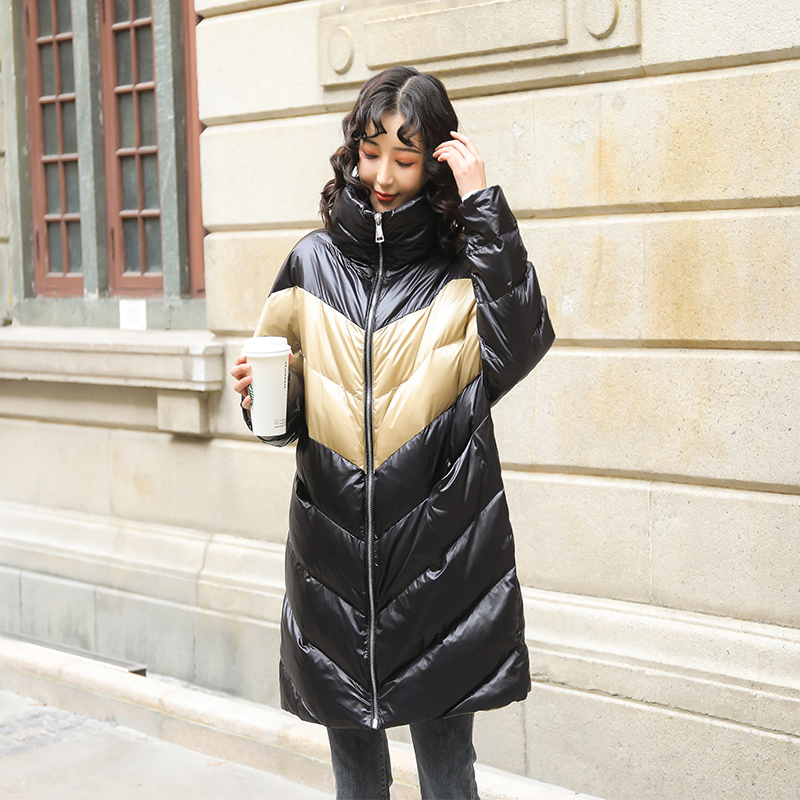 Qing Cang special sale color contrast down jacket womens middle long white duck down winter popular loose warm standing collar sports style