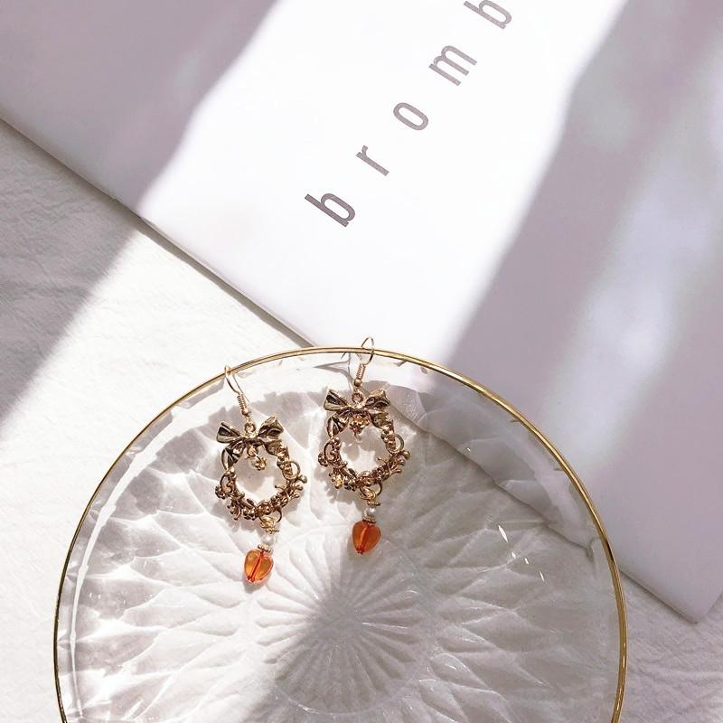 First flow jewelry retro metal bow wreath earrings earrings red love Pearl Pendant Earrings Jewelry