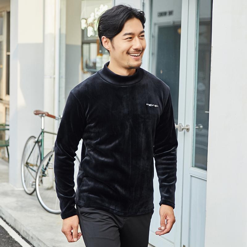 秋冬季中年男士长袖T恤加绒加厚保暖衣服半高领秋衣打底衫卫衣