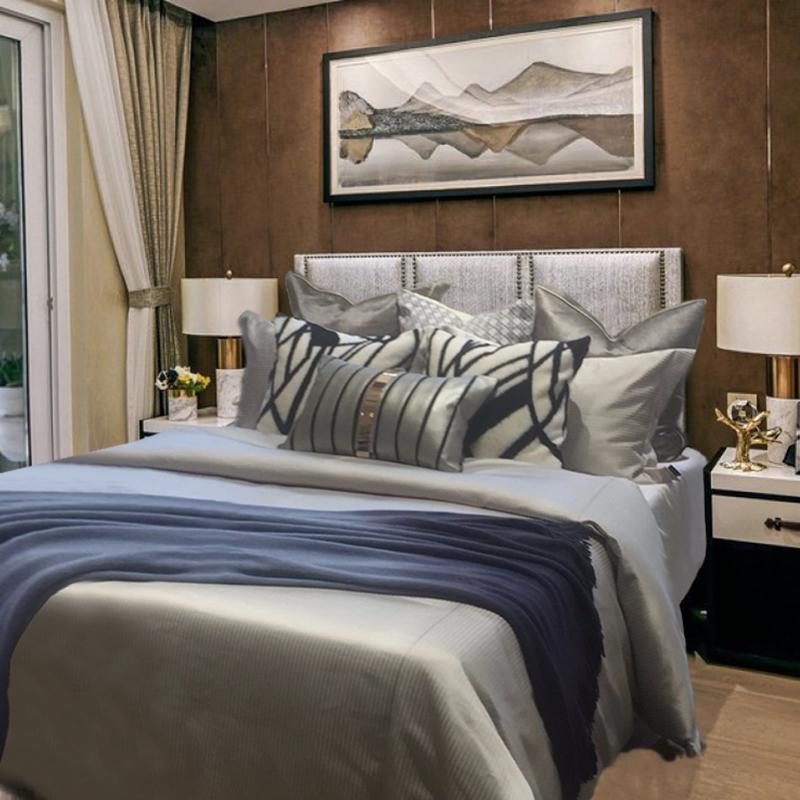样板房间床上用品全套组合蓝色软装床品多件整套布艺软饰