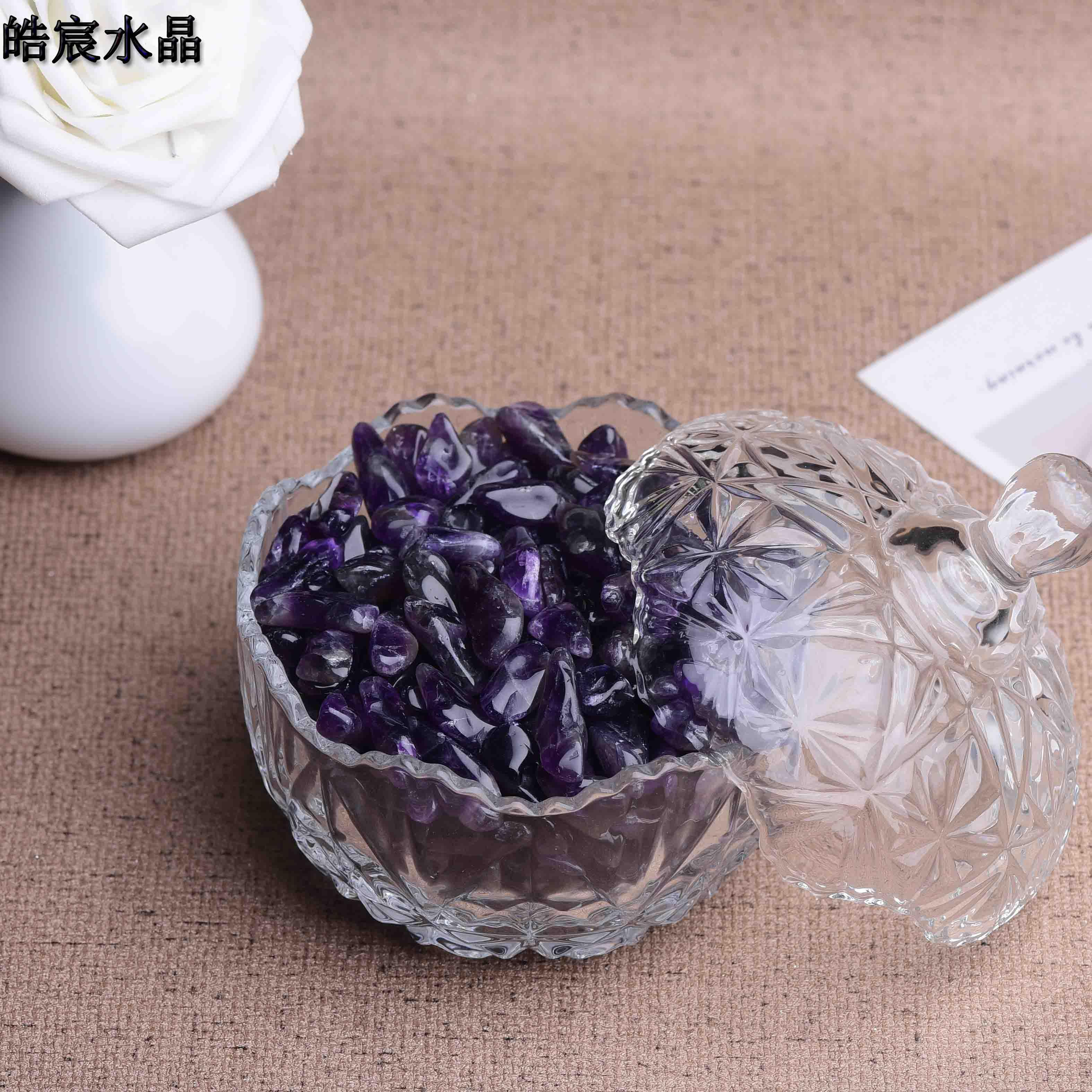 Colorful gravel for Buddha to buy two, send a Amethyst degaussing stone, Amethyst cluster hole, original stone pillow package