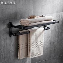 太空铝黑色复古毛巾架卫生间收纳架浴室浴巾架美式免打孔挂件套装