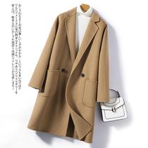 茧型大码双面羊绒大衣女2021年新款显瘦双排扣羊毛呢子外套中长款