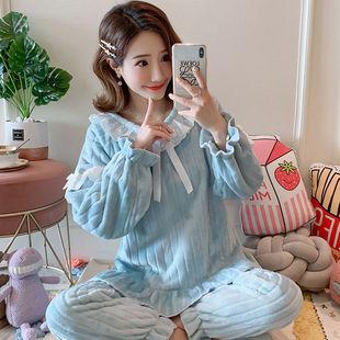 睡衣女法兰绒睡衣珊瑚绒韩版家居服