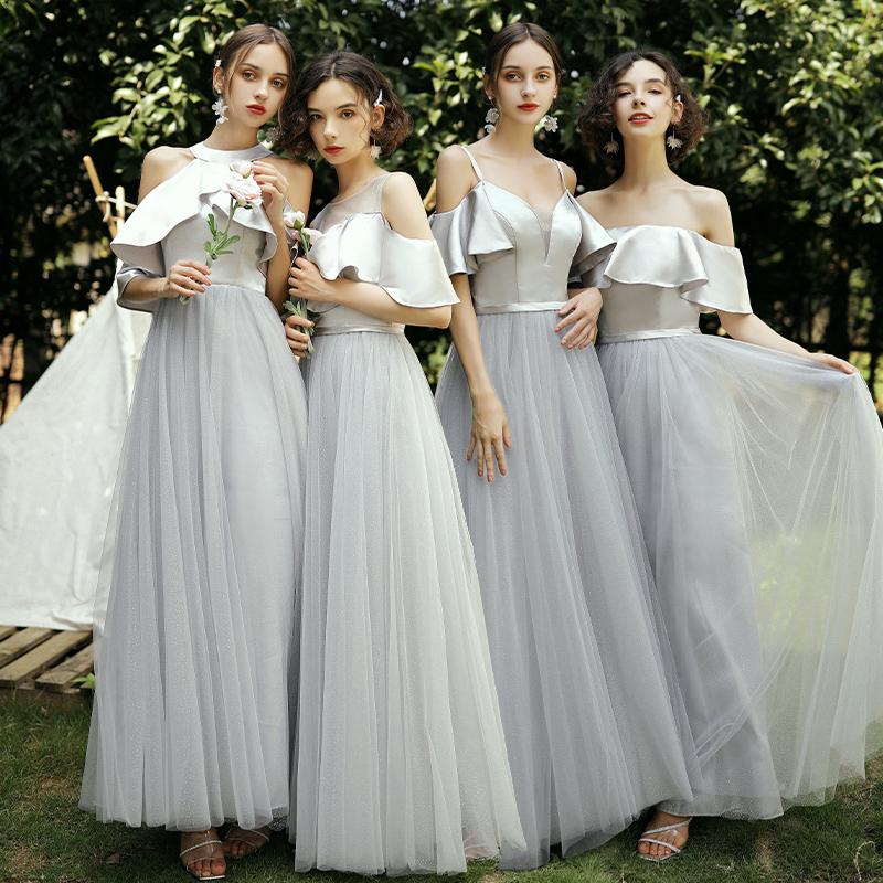 2019新款秋季仙气质灰色显瘦伴娘服