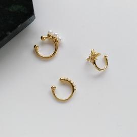 日韩六芒星镶钻珍珠耳饰品冷淡风耳骨夹无耳洞个性金属耳环女1165