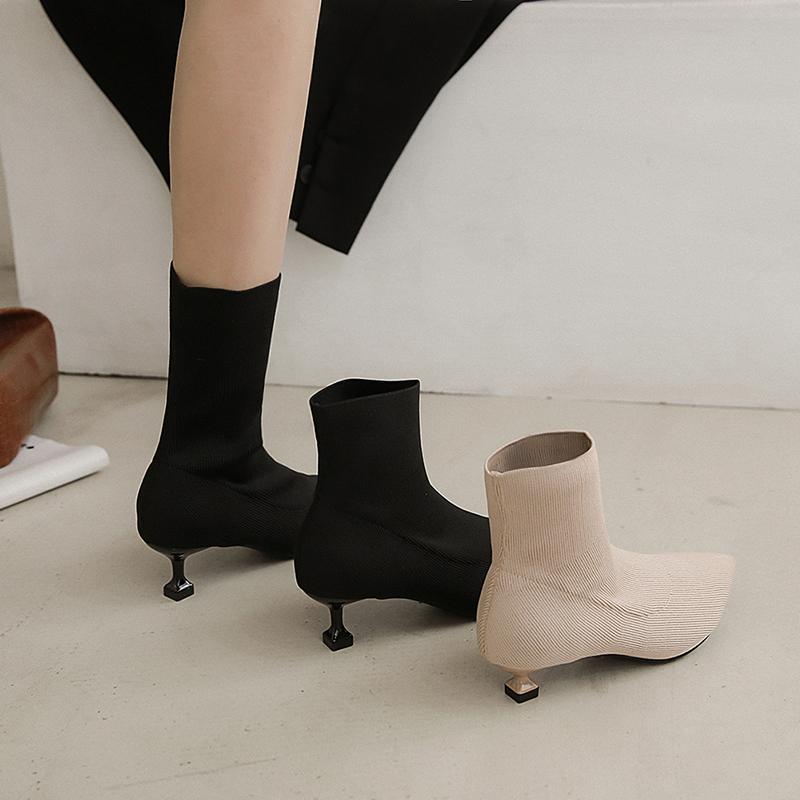 2021 new small heel short boots womens autumn and winter 3cm thin boots cat heel high heels shoes versatile thin heel socks boots