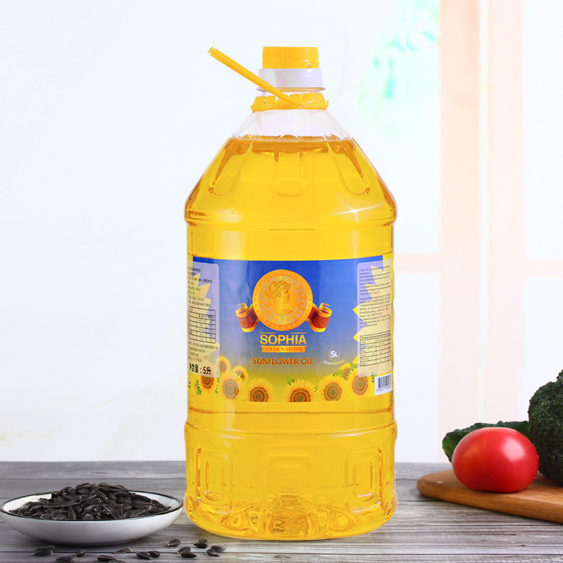 Ukrainian original bottle of imported famous Sofia sunflower seed oil 5L physical press frying vegetables with less oil smoke