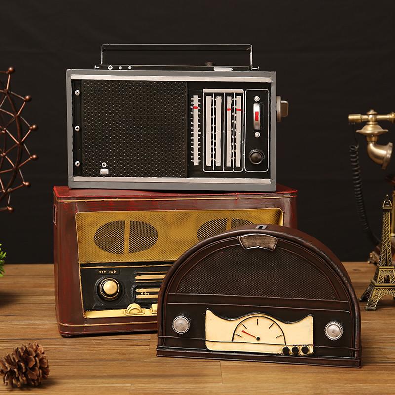 复古怀旧老式收音机模型小摆件客厅酒柜家居装饰品样板房道具软装