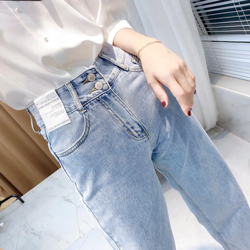 Jeans womens straight wide leg pants spring Korean retro simple high waist Slouchy loose casual floor pants