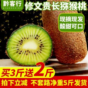 修文猕猴桃新鲜5斤包邮 贵州阳特产贵长弥胡桃野生大小绿心奇异果