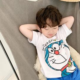 男童叮当猫短袖T恤 2021夏季韩版机器猫儿童中小童宝宝洋气衣服潮