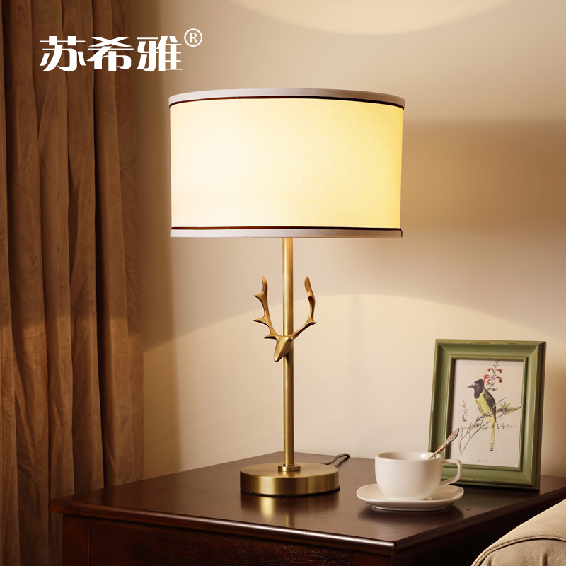 All copper antler table lamp American style simple Villa Club study bedroom bedside lamp personality creative art deer head lamp