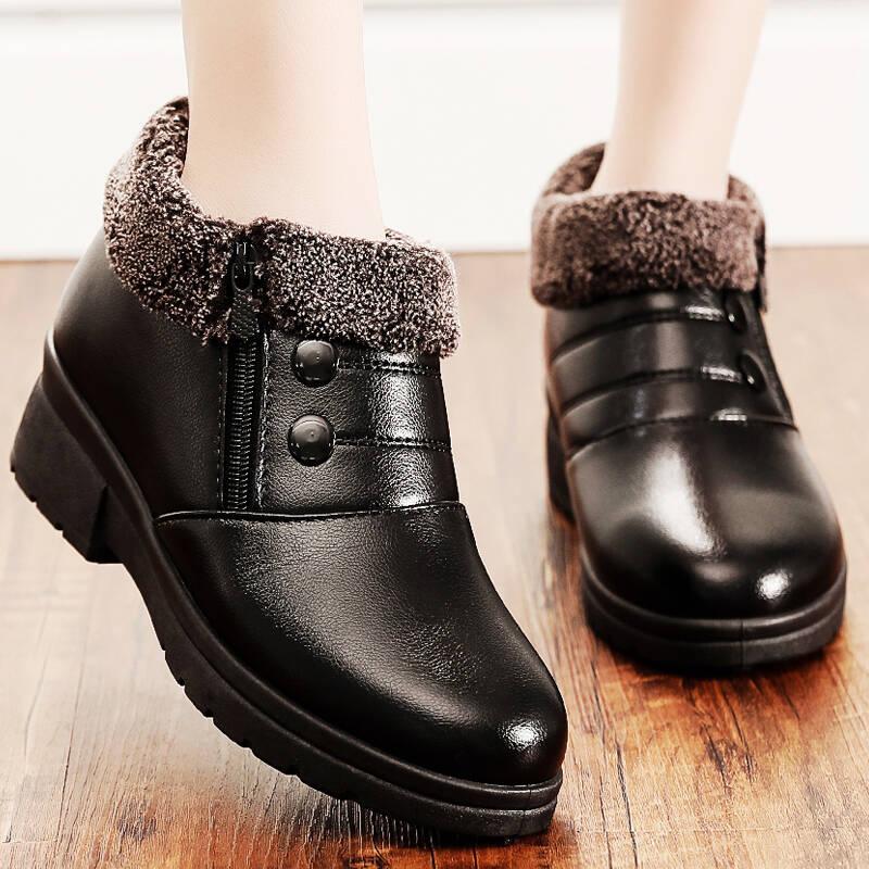 冬季棉鞋妈妈鞋加绒保暖平底防滑皮鞋短靴中老年人女鞋软底雪地靴