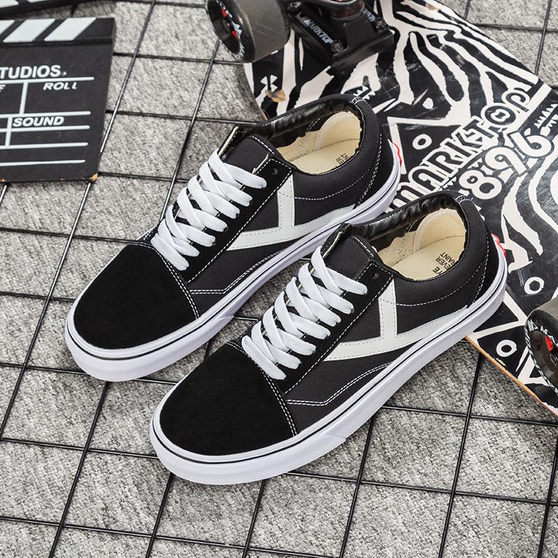 Houye skateboard shoes 2020 new black versatile trendy shoes couple shoes classic low top wear-resistant canvas shoes mens shoes