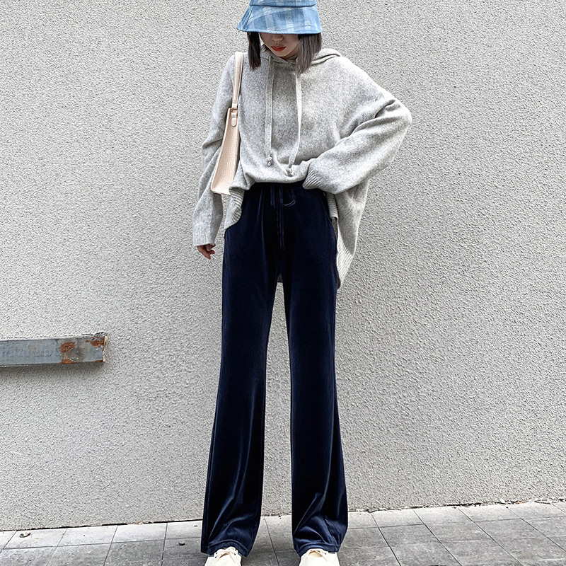 Autumn and winter 2020 new womens pants chenille trumpet pants womens casual slim High Waist Wide Leg Pants