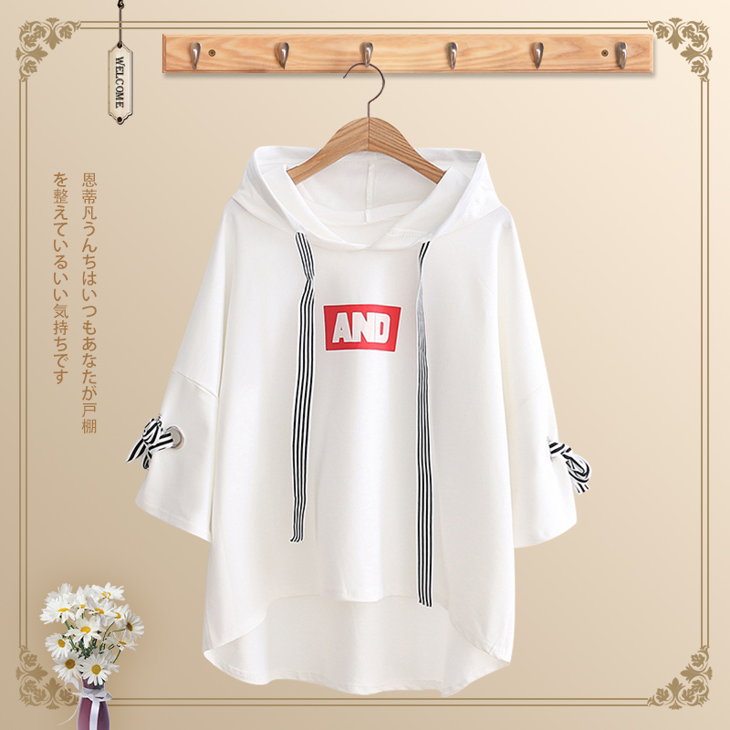 Older children's women's clothing 12-15 years old summer dress college style all-match 13 junior high school girls loose short-sleeved T-shirt students high school students