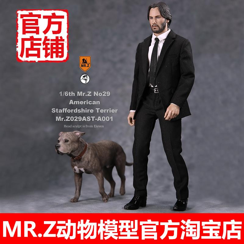 斯塔福梗犬基努里维斯mr.z动物模型1:6z先生疾速追杀特工杀神狗狗