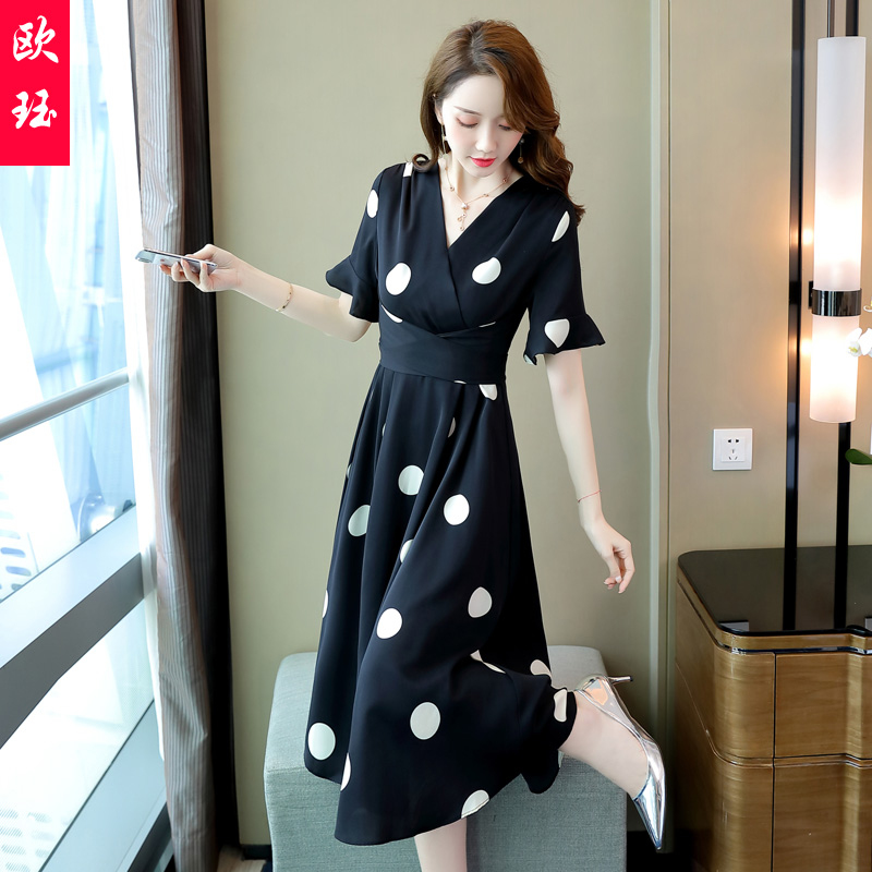 Temperament dress goddess summer dress 2020 new womens leisure fashion with fresh embroidered letter printing