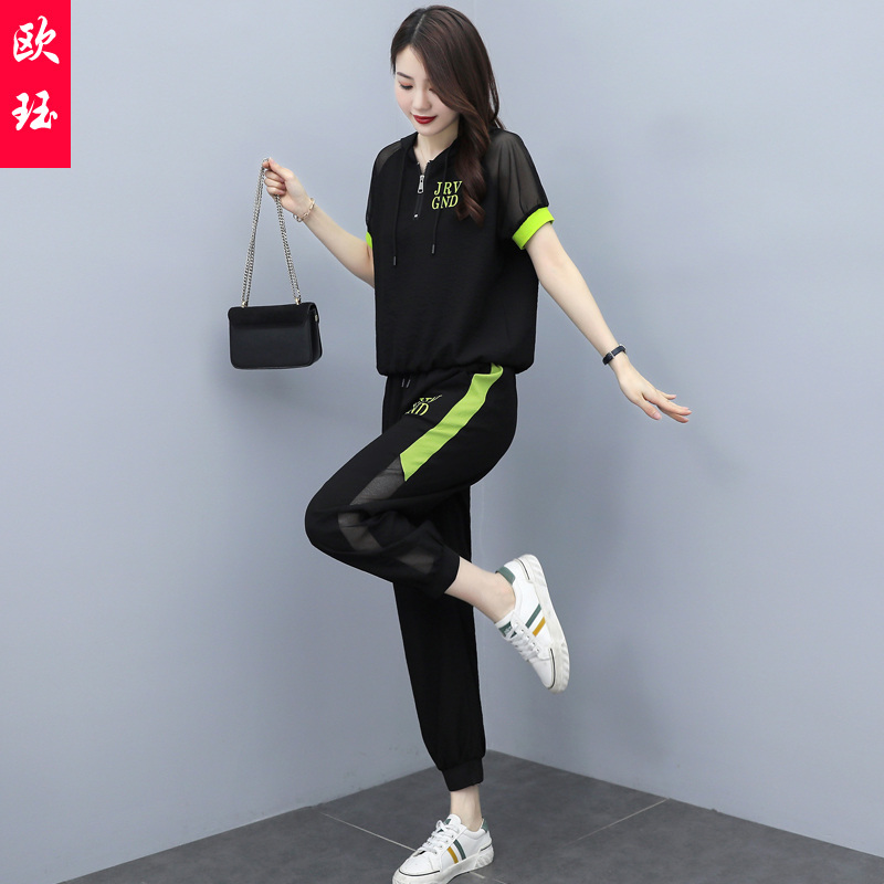 Age reduction two piece fashion suit womens summer 2021 new style foreign style slim slim sportswear trend