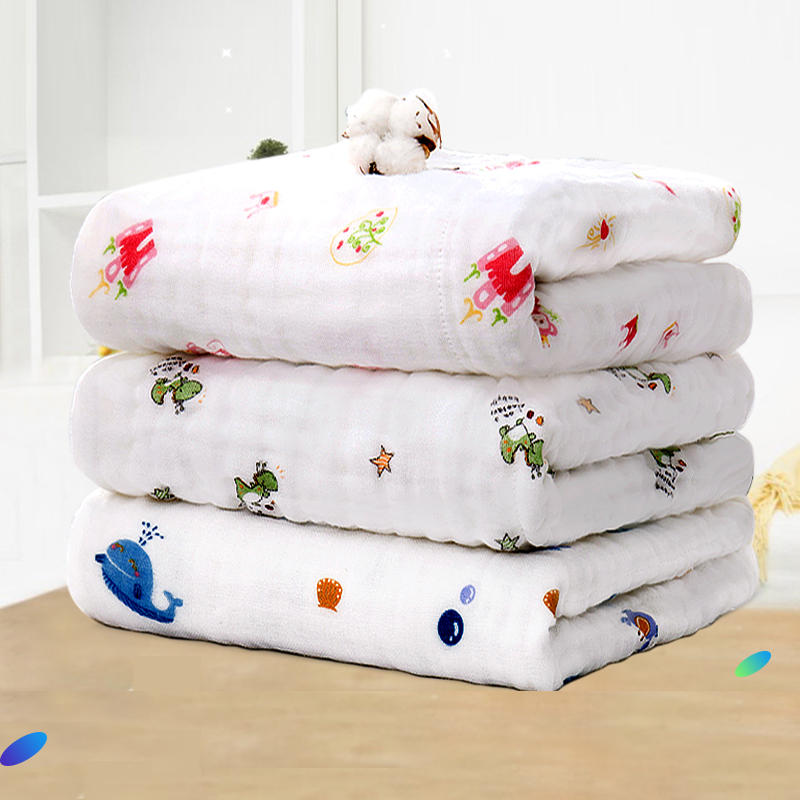 婴儿浴巾毛巾纯棉纱布宝宝洗澡新生儿童吸水家用初生超柔被子盖毯