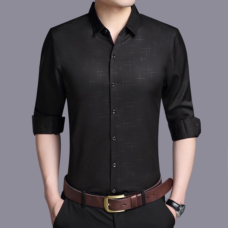 春秋休闲修身短袖中袖长袖衬衫上衣纯色