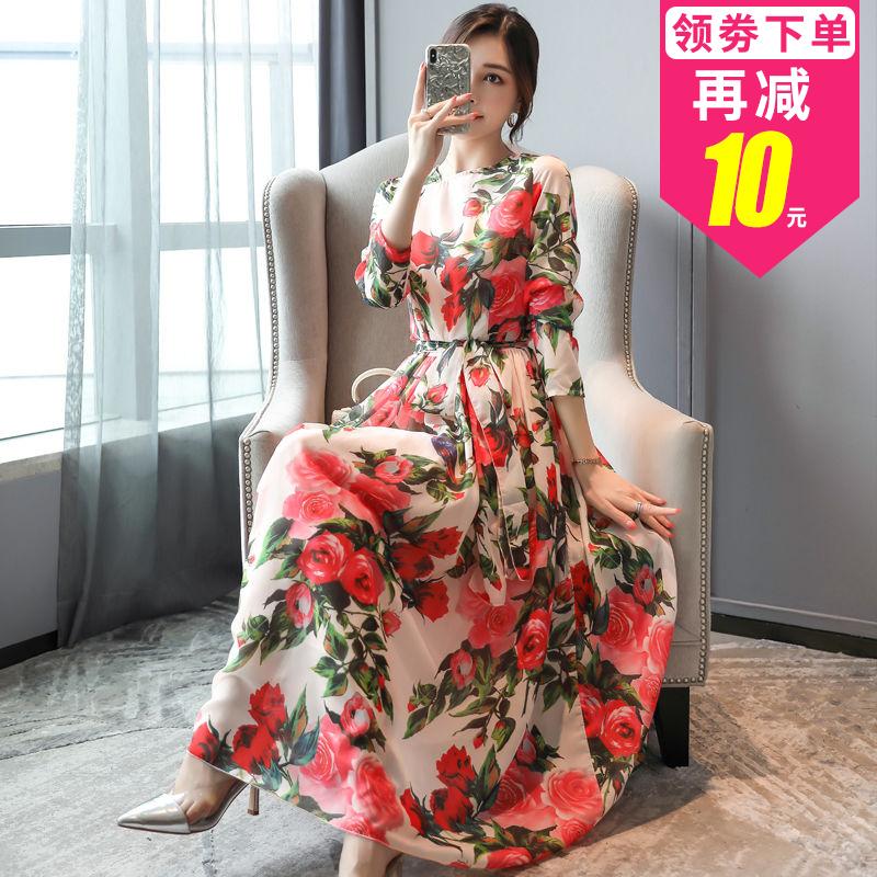 【俏珂妍】碎花雪纺连衣裙2019年秋装女新款气质收腰显瘦长袖裙子
