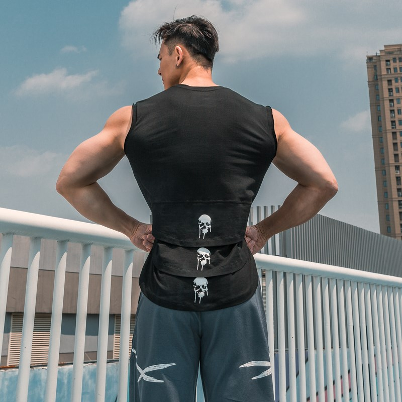 Mens sleeveless training T-shirt fashion skull cotton breathable sweat absorbent shoulder sports fitness vest
